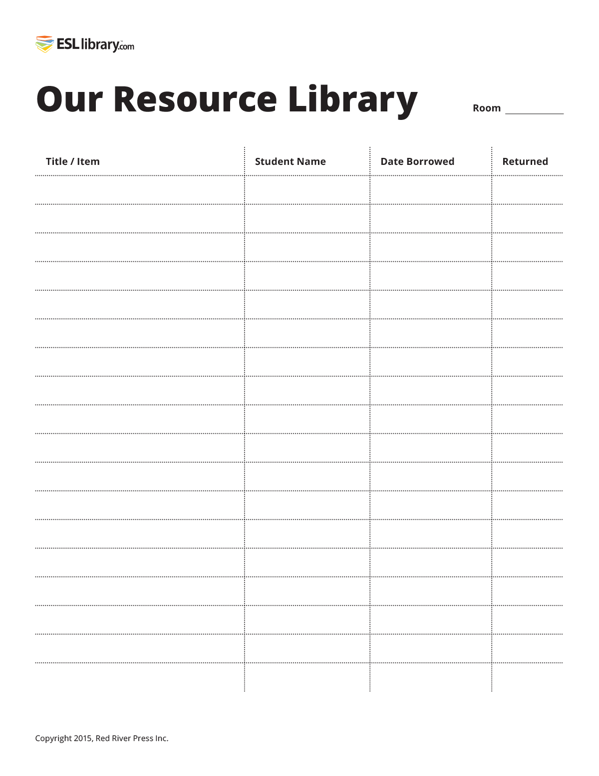 Classroom Resources Printable Sign Out Sheet Esl