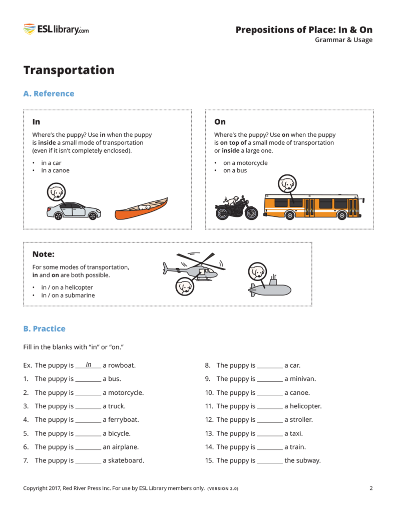 Transportation Prepositions In Amp On Esl Library Blog